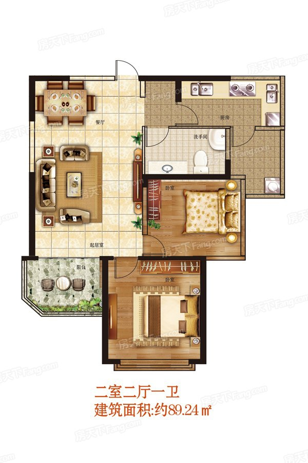 2室2厅1卫89.24㎡