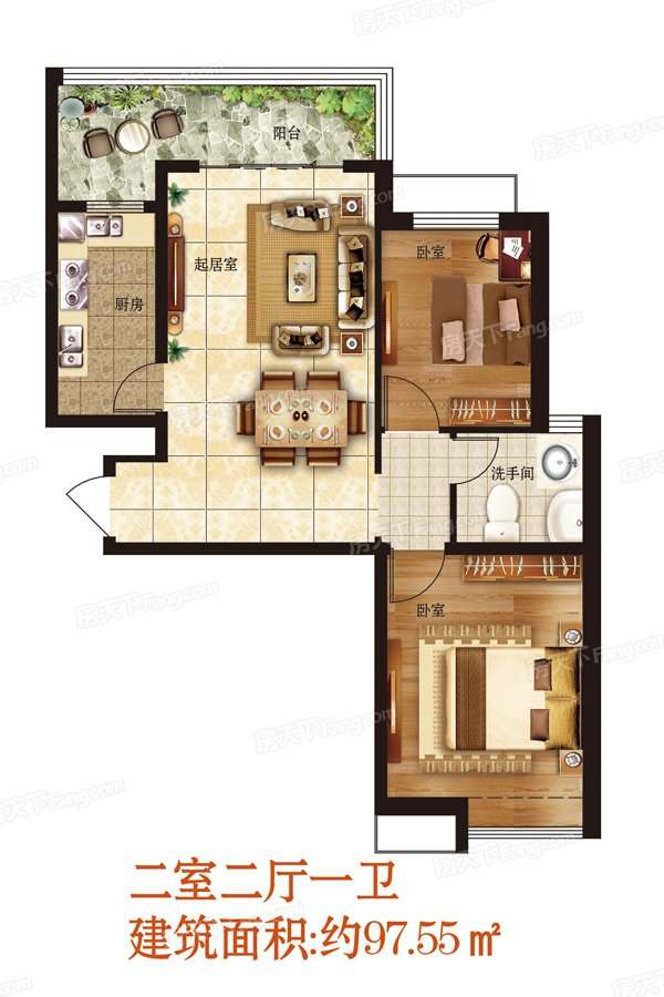 2室2厅1卫97.5㎡