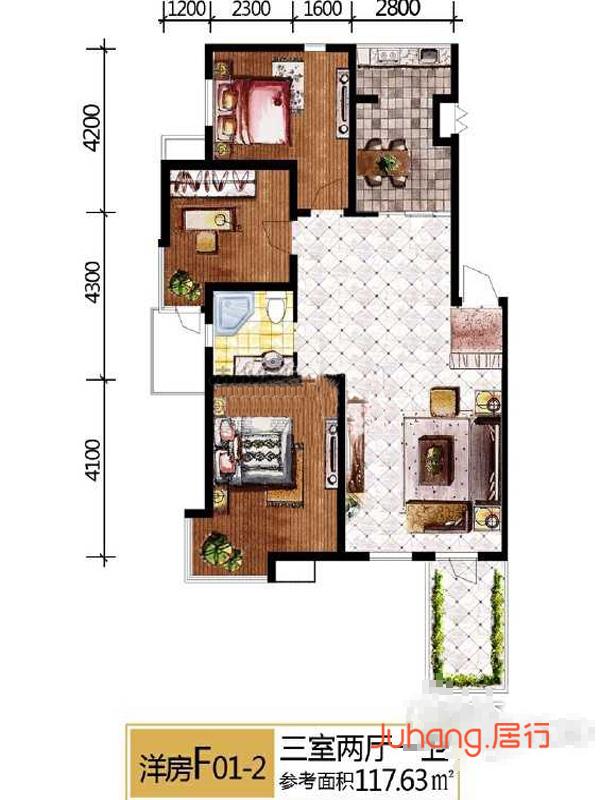 洋房f01-2三室两厅一卫117.63㎡