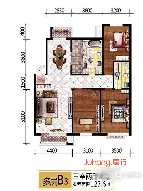 B3户型3室2厅2卫123.6㎡