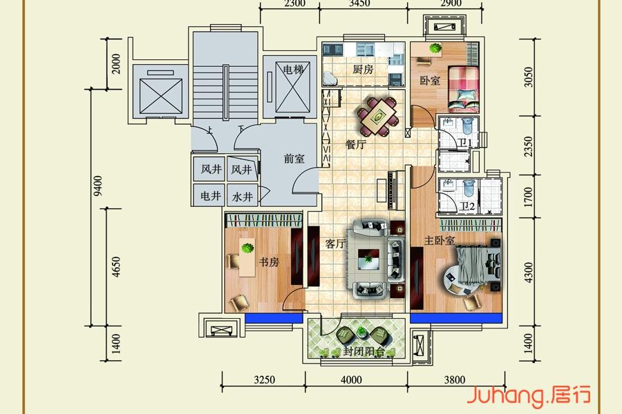 三室两厅两卫B户型
