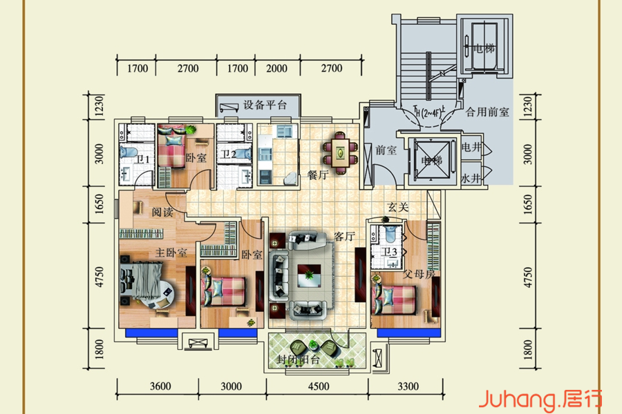 四室两厅三卫A户型