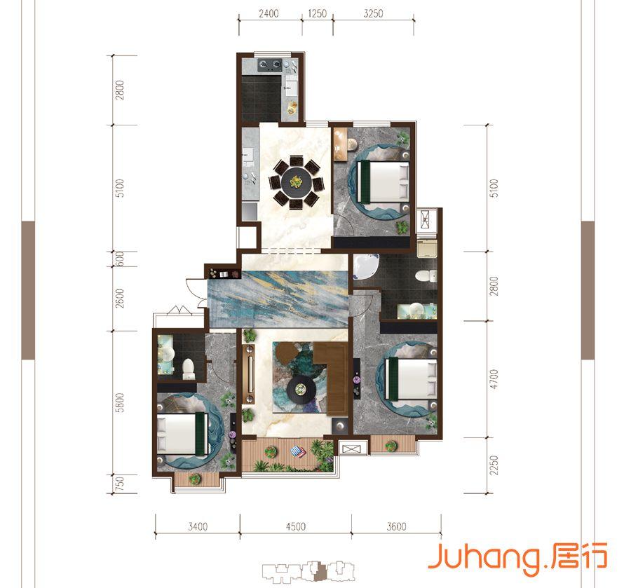 華信山水文苑168㎡戶型