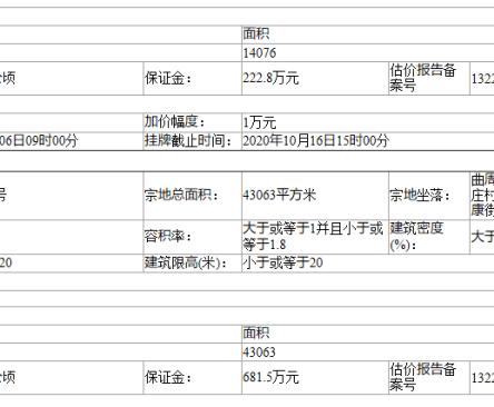 邯郸曲周县出告字[2020]24号土地挂牌出让