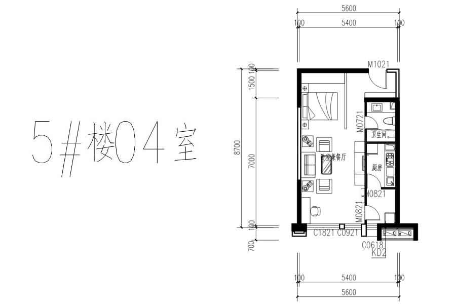 隆基+时代5#04室户型